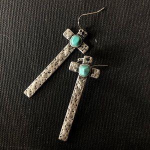 NWT - Natural Turquoise Metal Cross Earrings